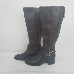 NWOT Franco Sarto Tall Leather dark brown boots